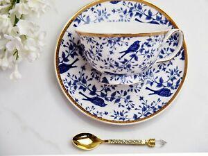 Blue Birds Teacup & Saucer New Bone China White Hamptons Coastal Home Decor