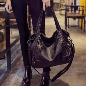 Schwarz Damentasche Leder Shopper Bag Handtasche Tragetasche Schultertasche