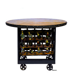 Wood Wine Tasting Table with Bottle Cellar Rack Industrial