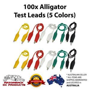 Alligator Test Lead Double ended x100 pcs - 5 Colors Crocodile Clip Fast Postage
