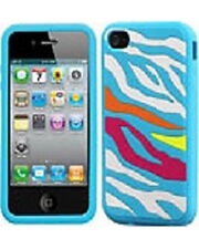 For iPhone 4 4S Rubber SILICONE Skin Soft Gel Case Phone Cover Blue Zebra