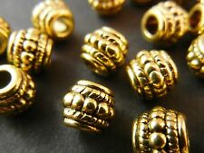 20pc 8mm Gold Tibetan Silver Large Hole Bali Barrel Round Spacer Beads T065