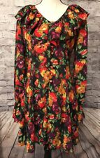 AUDREY CELINE Sheer Dress Floral Long Sleeve with Ruffles and Buttons EUC!