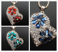 Betsey Johnson Red/Blue Flower Crystal Heart Pendant Sweater Chain Necklace