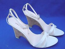 Giorgio Armani Women Wedges Heels Shoes Size 39M Brown and White BNIB