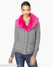 NEW JUICY COUTURE $248 GRAY FAUX FUR COLLAR CARDIGAN SWEATER JACKET SZ L LARGE