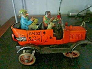 Marx Antique  Amos 'n' Andy Taxicab Black Americana Wind Up Metal Toy WORKS