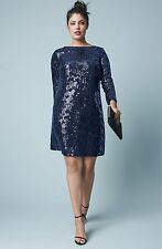 Vince Camuto Sequin Long Sleeve Shift Dress (Plus Size) (size 18W)