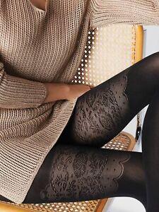 Fiore Patterned Tights 40 Denier Elizabeth Mock Suspender Stockings Tights New