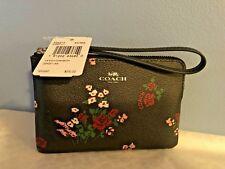 Coach Corner Zip Wristlet Bag with Cross Stitch Floral Print ~ F26217