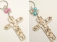 12 PC Wood Laser Cut Cross First Communion JHS Girl Boy Keychain Favors Recuerdo