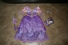 Girl's Disney Disnep Rapunzel Costume Tiara Wand Shoes 13/1 S 5 6