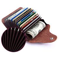 Leather Aluminum Wallet RFID Blocking Pocket Holder Credit Card Bag Case Unisex