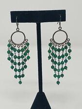 Vtg green Jade beaded chandelier earrings