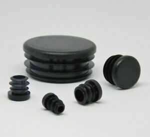 Round End Caps Plastic Blanking Plugs Bungs PipeTube Inserts  / Black