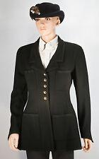 CHANEL BOUTIQUE - Black Jacket Top Wool / Silk Sz: M (Measurements on Photo)