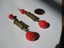 vintage dangle red coral EARRINGS brass chinese asian glass hippie retro antique