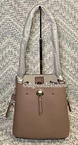 NEW Kate Spade Marti Small Bucket Bag Crossbody Dusk City Scape Taupe Leather