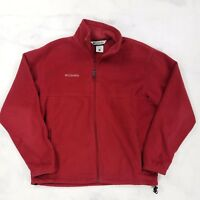 Columbia Solid Red Full Zip Fleece Jacket Coat, Mens Large