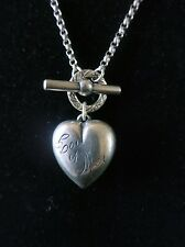Valentine's Vintage Sterling Necklace w/ Puffy Heart, Toggle Clasp, Inscription