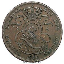 5 centimes 1856 Léopold Premier Monogramme Lion Belgique - Cuivre