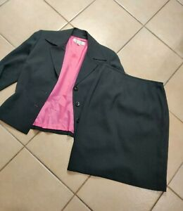 Tahari 2pc Black Spotted Skirt Suit Size 10p