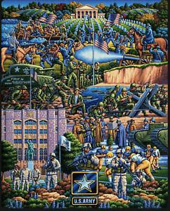 "DOWDLE WOODEN JIGSAW TRAVEL PUZZLE,  ""U.S. ARMY"" 150 PIECES FOLK ART,"