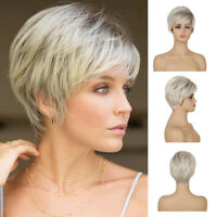 Stylish Pixie Boyct Bob Wigs Short Straight Curly Hair Wig Synthetic Ombre Wig