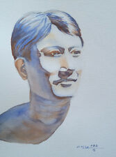 Male Portrait, Asian, Original Watercolor Painting, Signed, Wall Art Deco