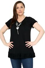 Womens Plus Size Frill Necklace Gypsy Tunic Short Sleeve Long V Neck Tops 12-26