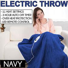NAVY Coral Fleece Heated Electric Throw Rug Snuggle Blanket 11 Settings Winter