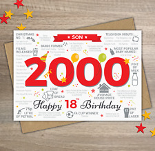 2000 SON Happy 18th Birthday Memories / Year of Birth Facts Greetings Card Red
