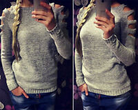 Womens Long Sleeve Pullover Openwork Cold Shoulder Knitted Blouse Sweater Tops