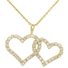 18k Gold Plated Clear Crystal Double Heart Love Pendant Couple Necklace 19""