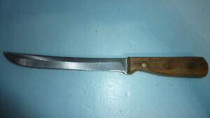 """Vintage Chicago Cutlery 66S - 8"""" Slicer Knife w/3 Brass Rivet Wooden Handle"""