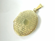 Vtg Etched Gold-plated Silver 835 Double Photo Locket Pendant Oval Hinged
