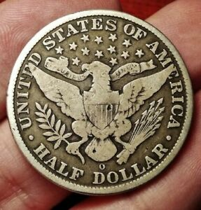 USA half dollar (50 cents) 1908 O coin (SILVER perfectly toned!)