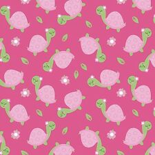 Fabric Baby Turtles on Pink Flannel 1/4 Yard