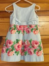 Janie and Jack All Abloom Tulle Dress Girls EUC Blue Floral Size 12-18 Months