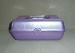 Vtg CABOODLES Cosmetic Make-Up Case Organizer Lavender Purple 2 Trays