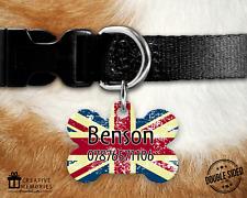 5c910c83e0da Dog Tag Pet Tag ID Tag - Personalised - Bone Tag - Union Jack Rustic Flag