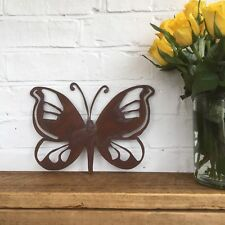 Rusted BUTTERFLY Sign Metal Home Garden Wall Lawn Ornament Animal Decoration