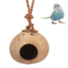 Pet Natural Coconut Shell Bird Nest Hut Cage Feeder Parrot Parakeet Toy House
