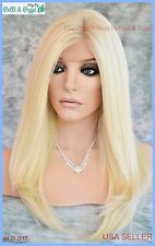 Swiss Lace Front Wig 4X4 Silk Top Hand tied Heat Safe Color 613 Long Thick 1228