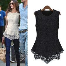 Sexy Damen Sommer Embroidery Tunika Chiffon Spitzentop Vest T-Shirt Tops Blusee