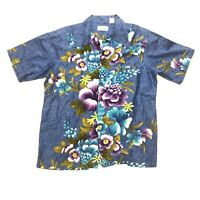 Penny's Mens Size Med-Large Hawaiian Shirt Button Front Floral Vintage Blue EUC