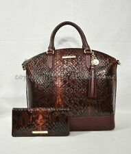 Brahmin LG Croco Leather Cranberry Valerian Duxbury Satchel Purse
