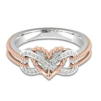 Sapphire Silver Rose Gold Filled Heart Infinity Rings White Wedding Rings NEW