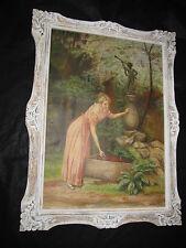 """Superbe grande huile 1900 """"jeune femme à la fontaine """""""