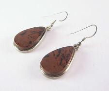 Red Obsidian Teardrop Earrings .925 Sterling Silver Dangle Hook Style Black